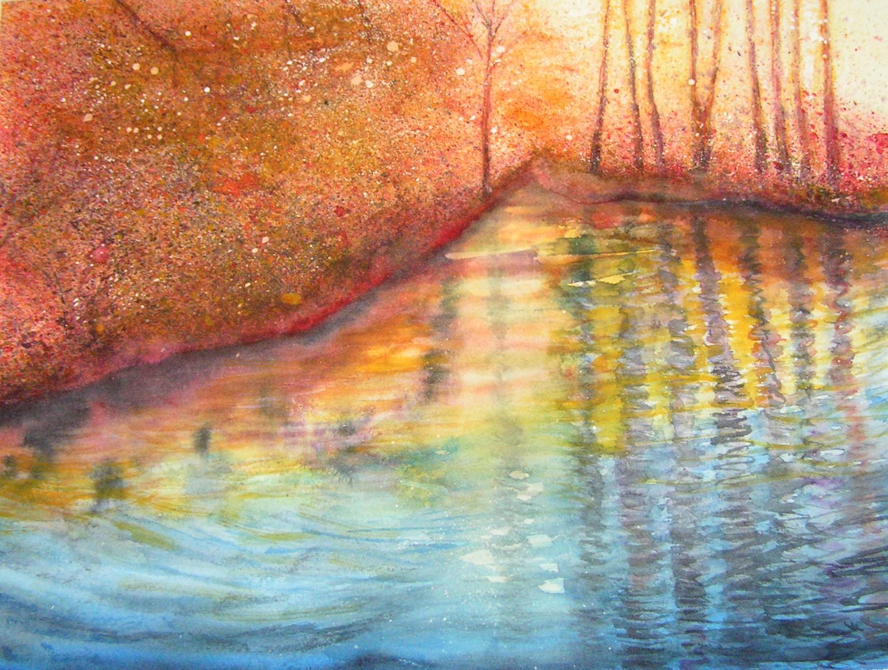 Reflet du soir sur le lac