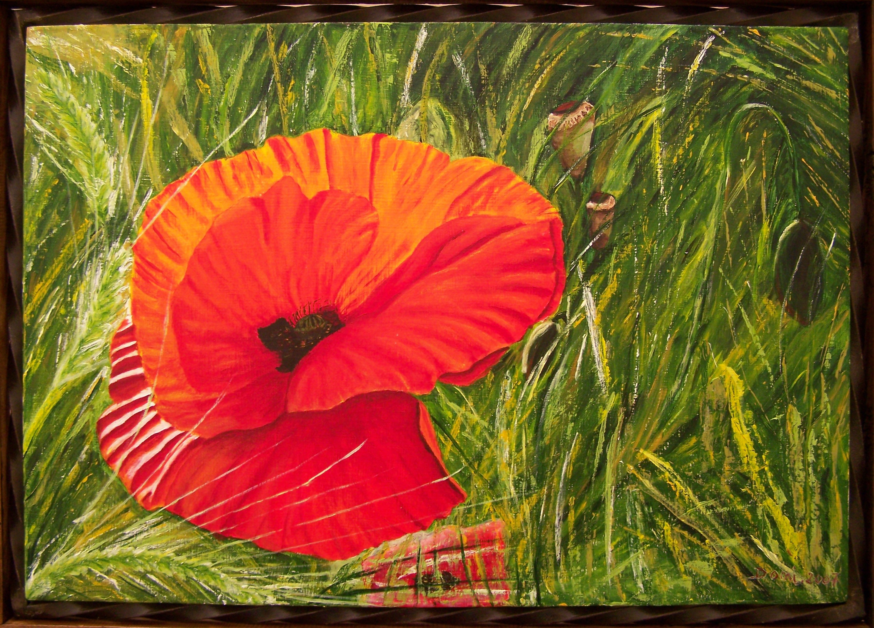 Table Coquelicot, 60x42 acrylique.