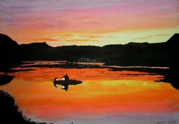 Baie saint michel le soir,huile, 61x50