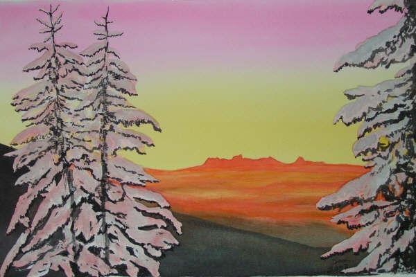 Sapins enneigés, aquarelle, 70x50