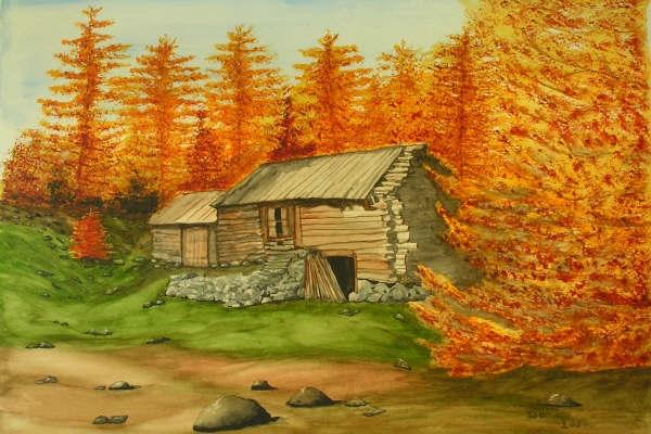 Cabane dans les mélèzes, aquarelle, 70x50