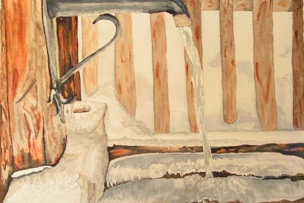 Fontaine du Queyras, aquarelle, 50x70