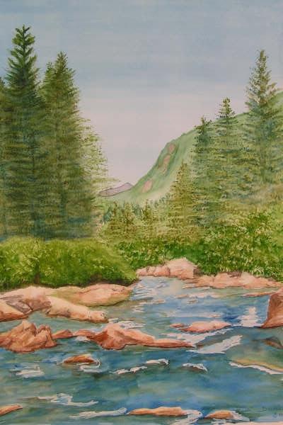 la source des Gillardes, aquarelle, 70x50