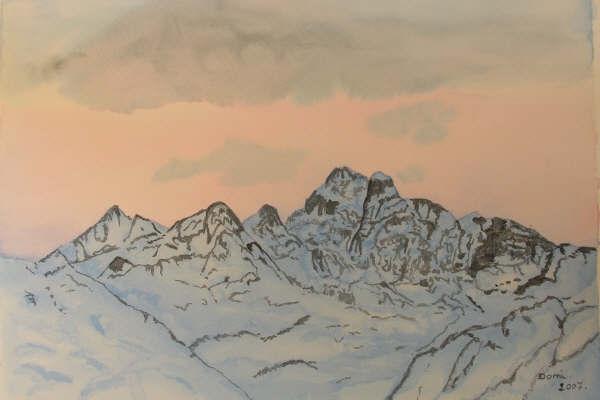 Le Queyras le mont Viso, aquarelle, 70x50