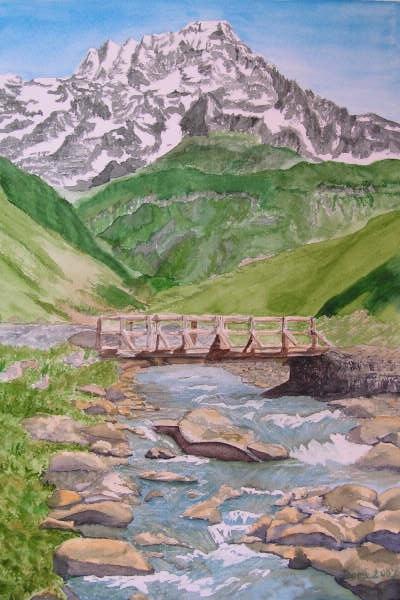 Le Sirac dans le Valgaudemar, aquarelle, 70x50