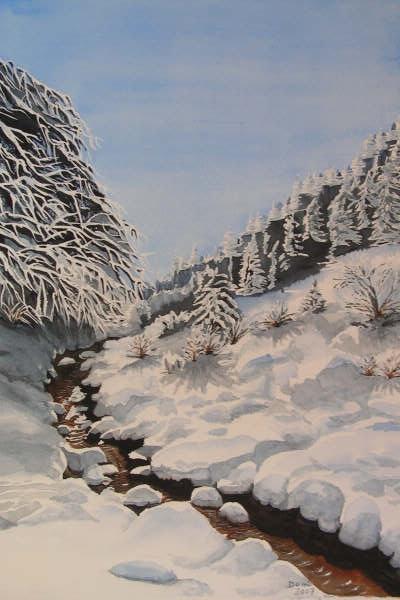 Petit ruisseau du Champsaur, aquarelle, 70x50