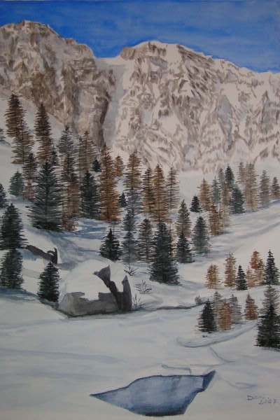 Vallée de la Clarée, aquarelle, 70x50
