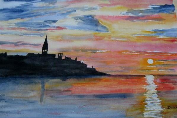 Coucher sur Pirovac Croatie, aquarelle, 40x30