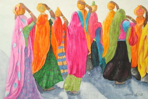 Les indiennes aquarelle 50x40