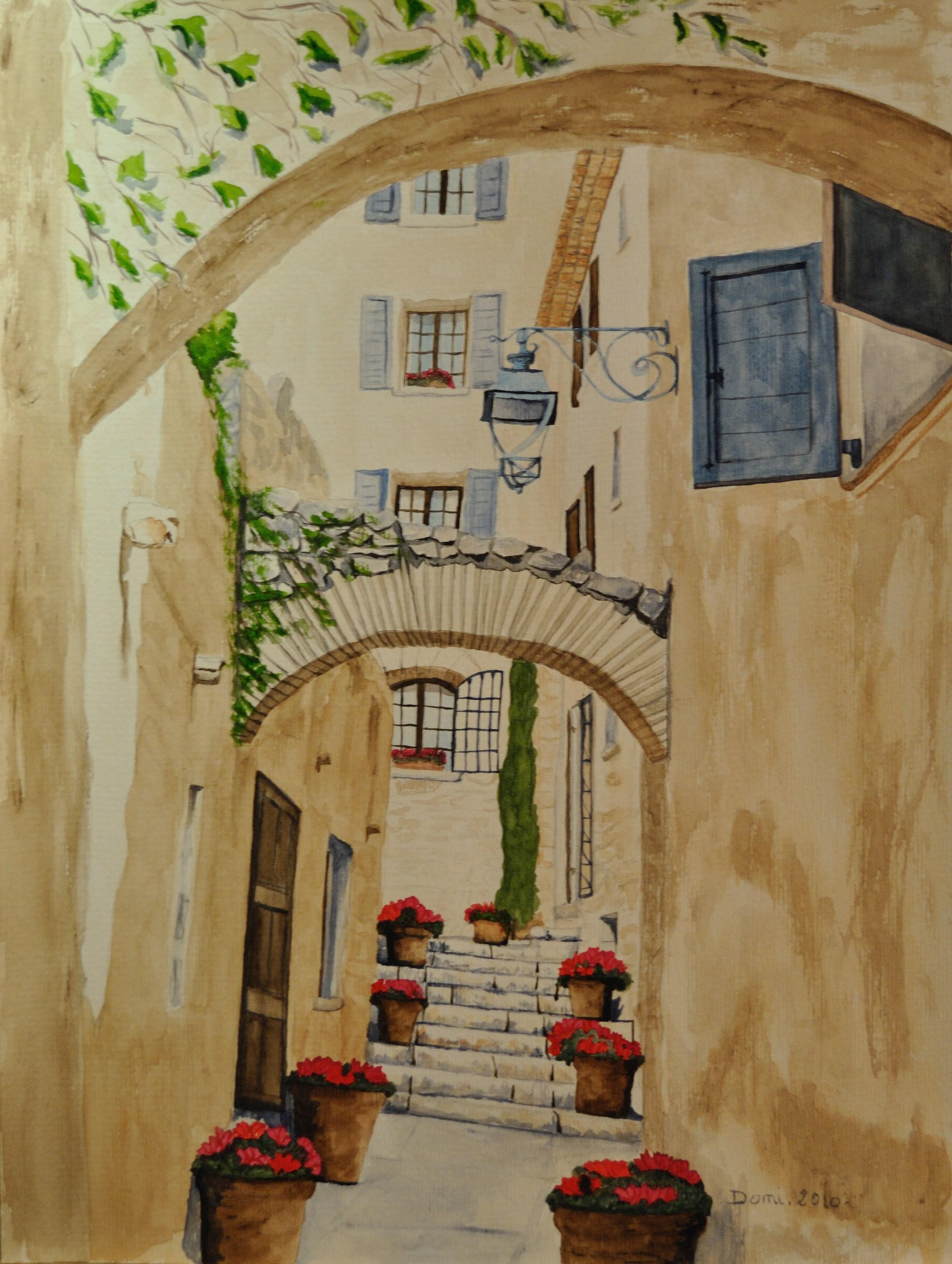 Une rue de saint paul de vence, aquarelle, 50x40
