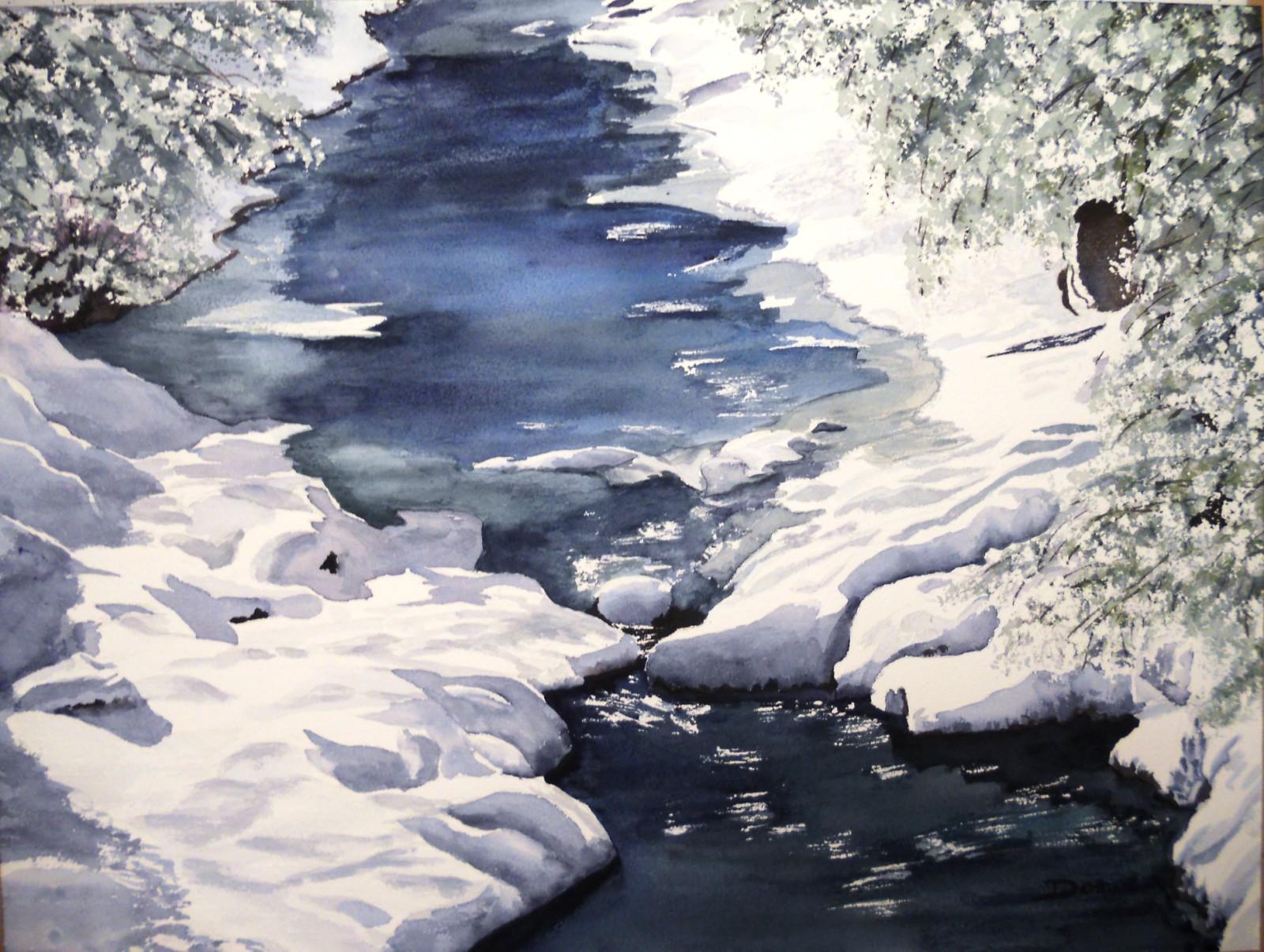 Le Queyras en hiver, aquarelle, 70x50