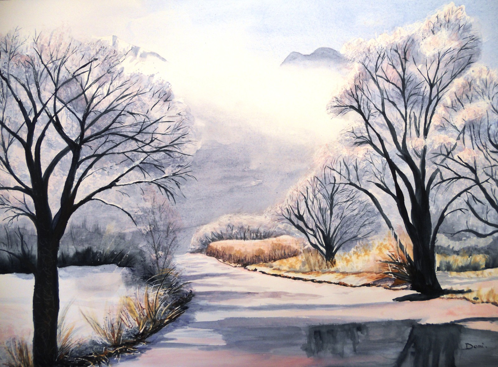 Le Queyras givre, aquarelle, 70x50