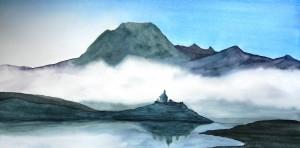 AQUARELLE dans Aquarelle 197.les-hautes-alpes.-baie-saint-michel-aquarelle-60x30cm1-300x148