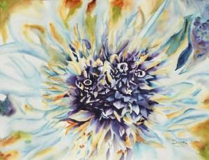 Copie de 200.coeur de chardon aquarelle 50x40cm