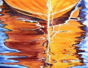 Copie de 204.Barque Corse reflets 2 aquarelle 31x23cm