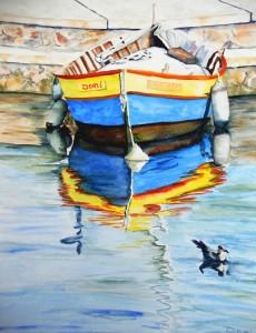Copie de 205.Barque Reflets 3 aquarelle 40x30cm