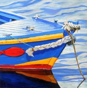 Copie de 214.bateau bleu huile 60x60cm