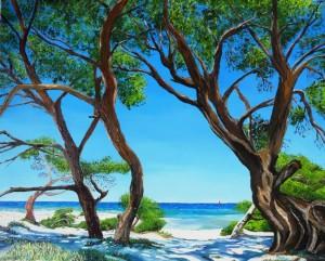 Copie de 217.La Corse, plage de Saleccia huile 81x65cm
