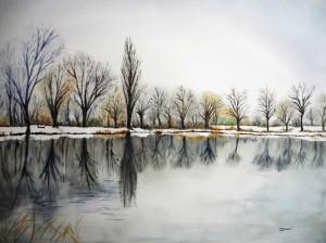 Copie de 222.hiver aquarelle 70x50cm(61x46cm)