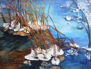 Copie de 224.Hiver étang gelé aquarelle 70x50cm 61x46