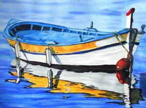 Copie de 236. La Corse, barque jaune aquarelle 40x30cm