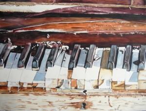 Copie de 240. Aquarelle 70x50cm detail d'un piano abandonné