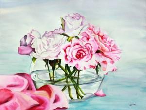 Copie de 241.Les Roses aquarelle 70x50cm