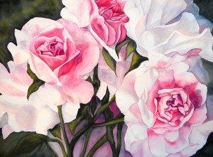 246.Les roses du jardin aquarelle 70x50cm