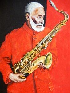 Copie de 258.Sonny Rollins Saxophoniste Aquarelle 70x50cm