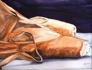 Copie de 273. Les chaussons aquarelle 50x40cm