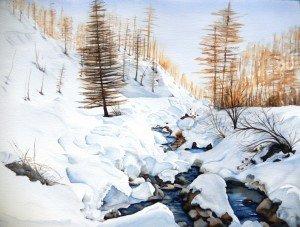 Copie de 274.ruisseau enneigé aquarelle 70x50cm