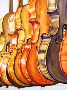 251. les violons aquarelle 70x50cm