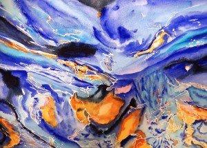265.Au fil de l'eau aquarelle 40x30cm