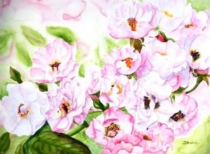 Copie de 286.Les Roses poudrées Aquarelle 50x40cm